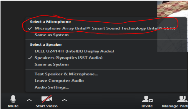Zoom screenshot of selecting a microphone > Microphone Array (Intel Smart Sound Technology Intel SST